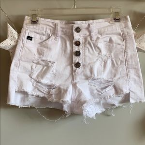 White Ripped Kancan Shorts